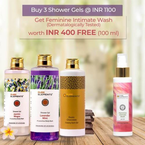 A Set of 3 Luxurious Shower Gels (Feminine Intimate Wash 100 ML FREE)