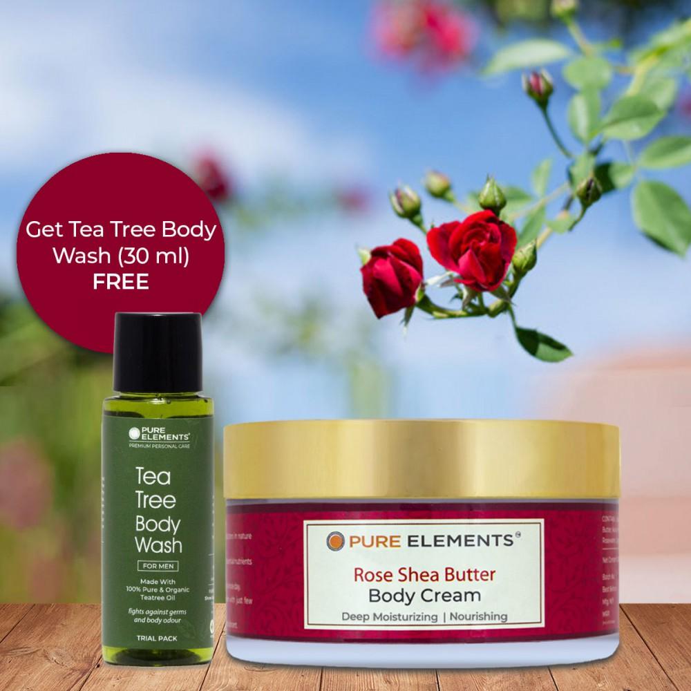 Rose Shea Butter Body Cream (Get 30 ML Tea Tree Body Wash Free)